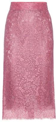 Dolce & Gabbana High-rise lace pencil skirt