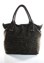 Deux Lux Brown Tweed Leather Trimmed Gold Accent Large Shoulder Handbag
