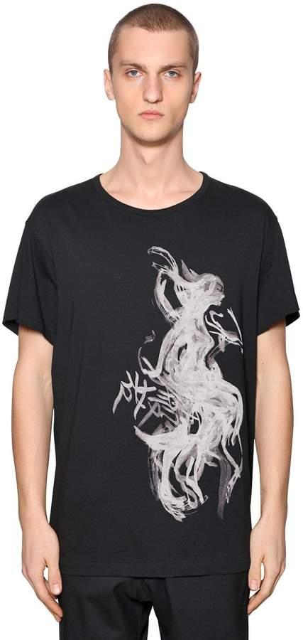 Yohji Yamamoto Printed Cotton Jersey T-Shirt