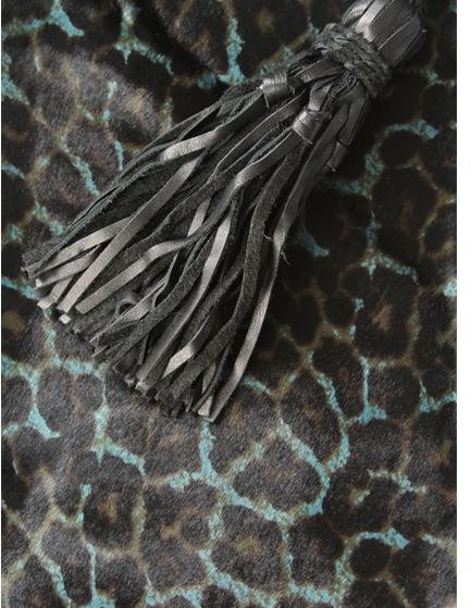 Simone Camille The Dash Clutch In Teal Jaguar Print Calf Hair