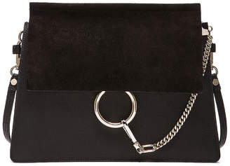 Chloé Medium Faye Suede & Calfskin Shoulder Bag in Black | FWRD