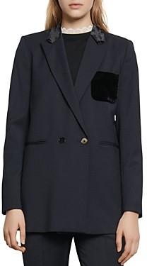 Sandro Domitille Velvet-Pocket Blazer