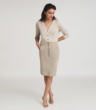 Reiss Connie - Knitted Midi Skirt in Neutral