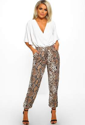 Pink Boutique Uptown Funk Multi Snake Print Cuffed Trousers