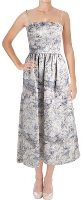 Vera Wang Women's Strapless Printed Jacquard High Low Ballgown