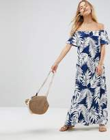 Asos Off Shoulder Maxi Sundress In Navy Palm Print