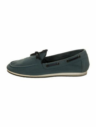 Hermes Bow Accents Moccasins Blue