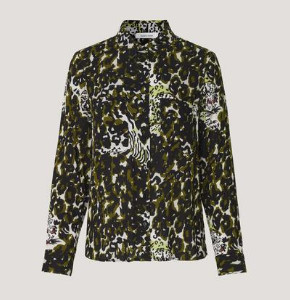Samsoe & Samsoe Aop Milly Shirt - M / Blue Line - Black/White/Green