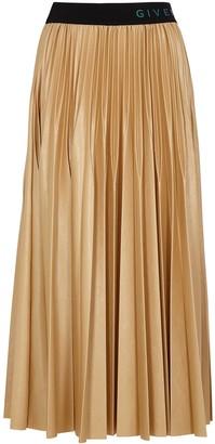 Givenchy Camel Pleated Coated Jersey Midi Skirt