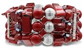 Jules B Red Three Row Stretch Bracelet with Beads