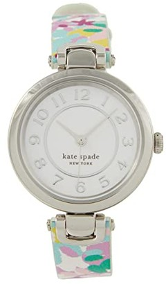 Kate Spade Rainey Park Three Hand Leather Watch (Purple/Green) Watches