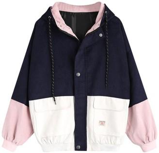 HARRYSTORE Women Long Sleeve Corduroy Hooded Coat Patchwork Oversize Zipper Jacket Windbreaker Top Overcoat (S