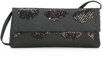 Nancy Gonzalez Gotham Sequin-Embellished Python Clutch