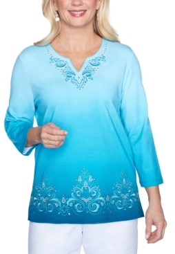 Alfred Dunner Petite Embroidered Ombre Knit Top