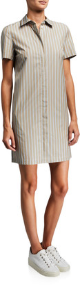 Theory Ribbon Stripe Button-Down Short-Sleeve Shirtdress
