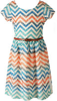 Speechless Short-Sleeve Chevron Lace Skater Dress - Girls