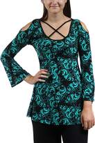 24/7 Comfort Apparel Printed Split-Sleeve Tunic