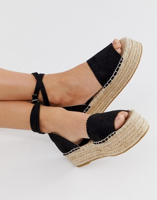 South Beach flatform sandals with ankle straps-Black