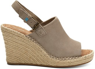 Toms Desert Taupe Suede Women's Monica Wedges