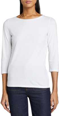 Majestic Filatures Boat-Neck 3/4-Sleeve Cotton Silk-Touch Tee