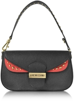 Love Moschino Double Flap Color Block Eco Leather Shoulder Bag