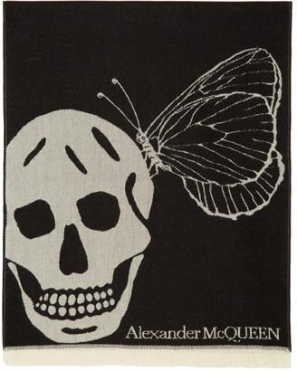 Alexander McQueen Black and Grey Oversize Skull Scarf