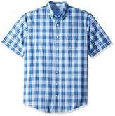 Izod Men's Tall Saltwater Dockside Chambray Short Sleeve Button Down Plaid Shirt