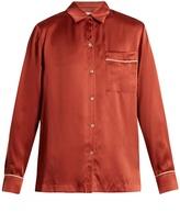 ASCENO Piped-edge sandwashed-silk pyjama set