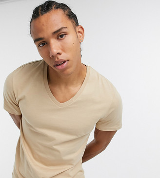ASOS DESIGN Tall t-shirt with v-neck in beige