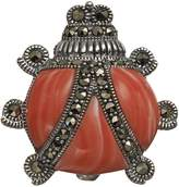 Tori Hill Simulated Coral and Marcasite Sterling Silver Ladybug Pin