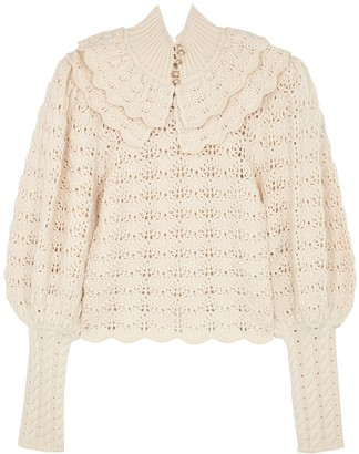Zimmermann Ladybeetle Cream Crochet-knit Wool Jumper