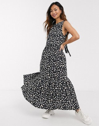 Asos DESIGN sleeveless cotton tiered midi dress with open back in mono leopard print
