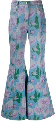 Giuseppe di Morabito High Rise Flared Floral Print Jeans