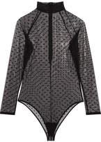 Fleur Du Mal Polka Dot-embroidered Stretch-tulle Bodysuit - Black