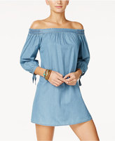 Speechless Juniors' Off-The-Shoulder Chambray Dress