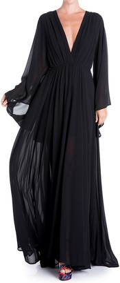 Meghan La Sunset Floral Bell Sleeve Maxi Dress