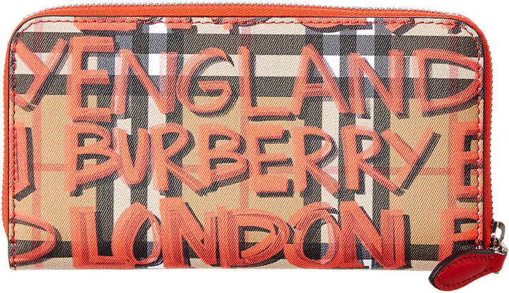 Burberry Graffiti Print Check Leather Zip Around Wallet