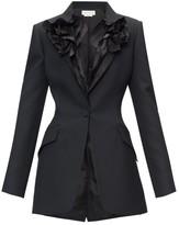 Alexander McQueen Ruffled-lapel Single-breasted Wool-blend Jacket - Womens - Black