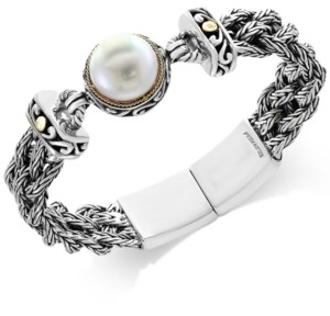 Effy Pearl Lace by Cultured Freshwater Pearl (14mm) Braided Chain Bracelet in Sterling Silver and 18k Gold