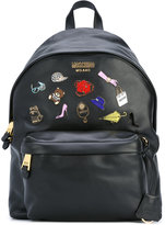 Moschino badge backpack - women - Leather - One Size