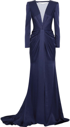 Jenny Packham Embellished Tulle-paneled Gathered Satin-crepe Gown