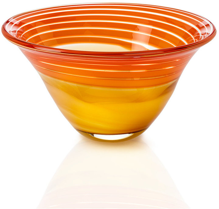 Waterford Evolution by Gifts. Red and Amber Swirl Bowl 8""