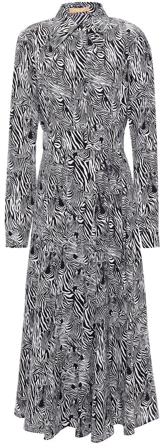 Michael Kors Collection Zebra-print Silk Crepe De Chine Midi Shirt Dress