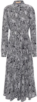 Michael Kors Collection Zebra-print Silk Crepe De Chine Midi Shirt Dress