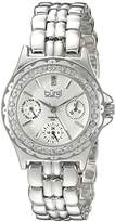 Burgi Women's BUR117YG Diamond & Crystal Accented Guilloche Dial Yellow Gold Bracelet Watch