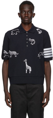Thom Browne Navy Pique 4-Bar Chain Stitch Icon Polo