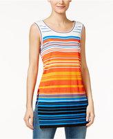 CeCe Sleeveless Striped Sweater