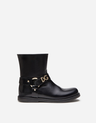 Dolce & Gabbana Calfskin Ankle Boots With Lettering