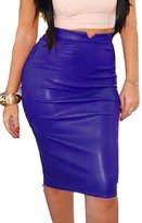 Prograce Hipsters High Waist Winter Cocktail Club Bodycon Knee Length Skirt Blue L