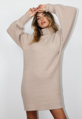 Missguided Stone Roll Neck Tuck Sleeve Knit Jumper Dress